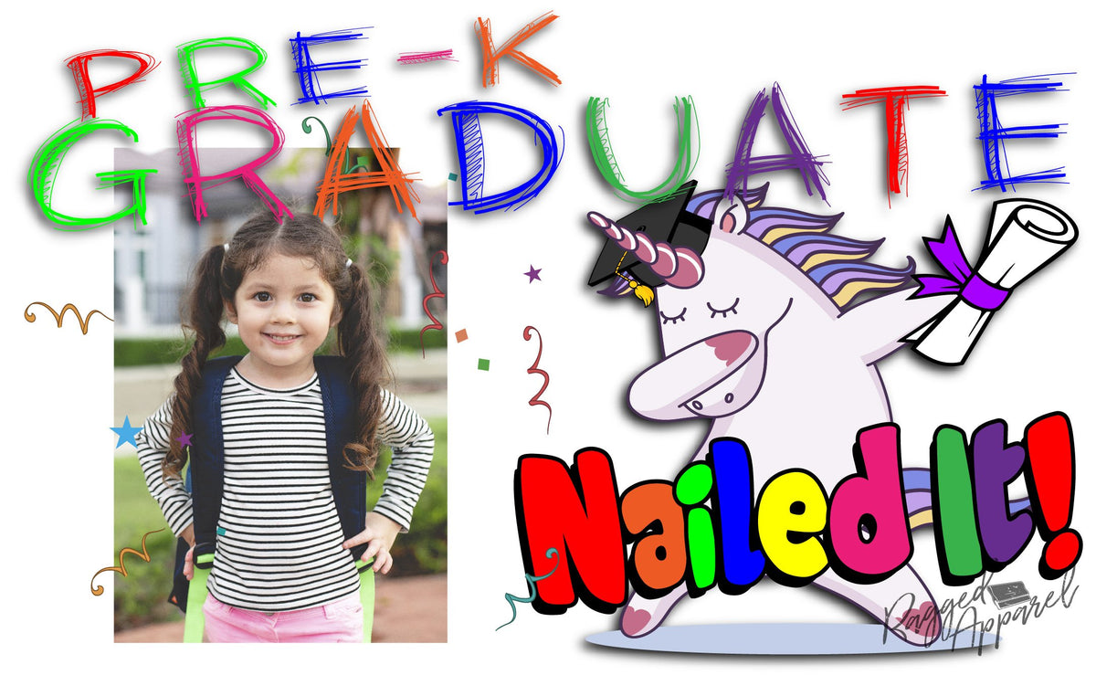 Girls Pre-K Graduate Personalized Photo Banner With Dabbing Unicorn - Ragged Apparel Screen Printing and Signs - www.nmshirts.com