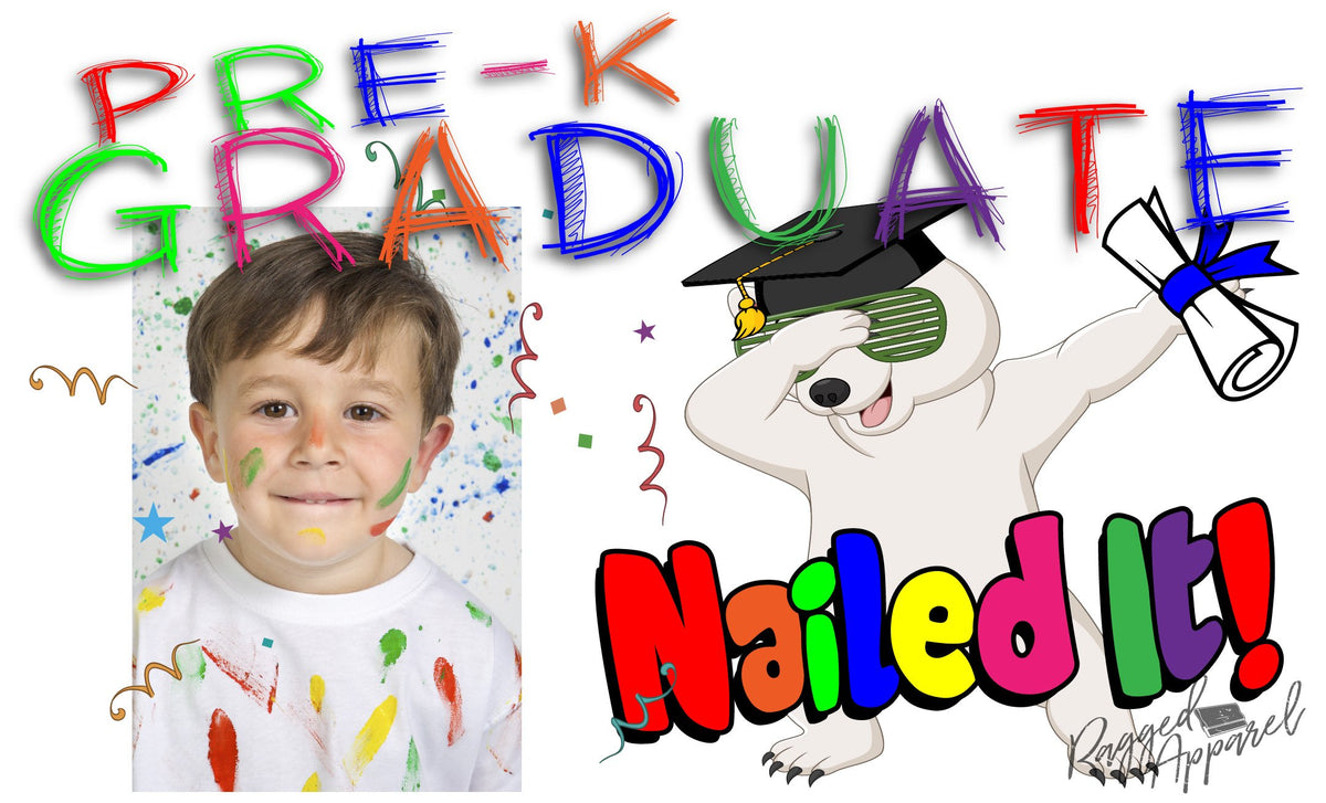 Boys Pre-K Graduate Personalized Photo Banner With Dabbing Bear - Ragged Apparel Screen Printing and Signs - www.nmshirts.com