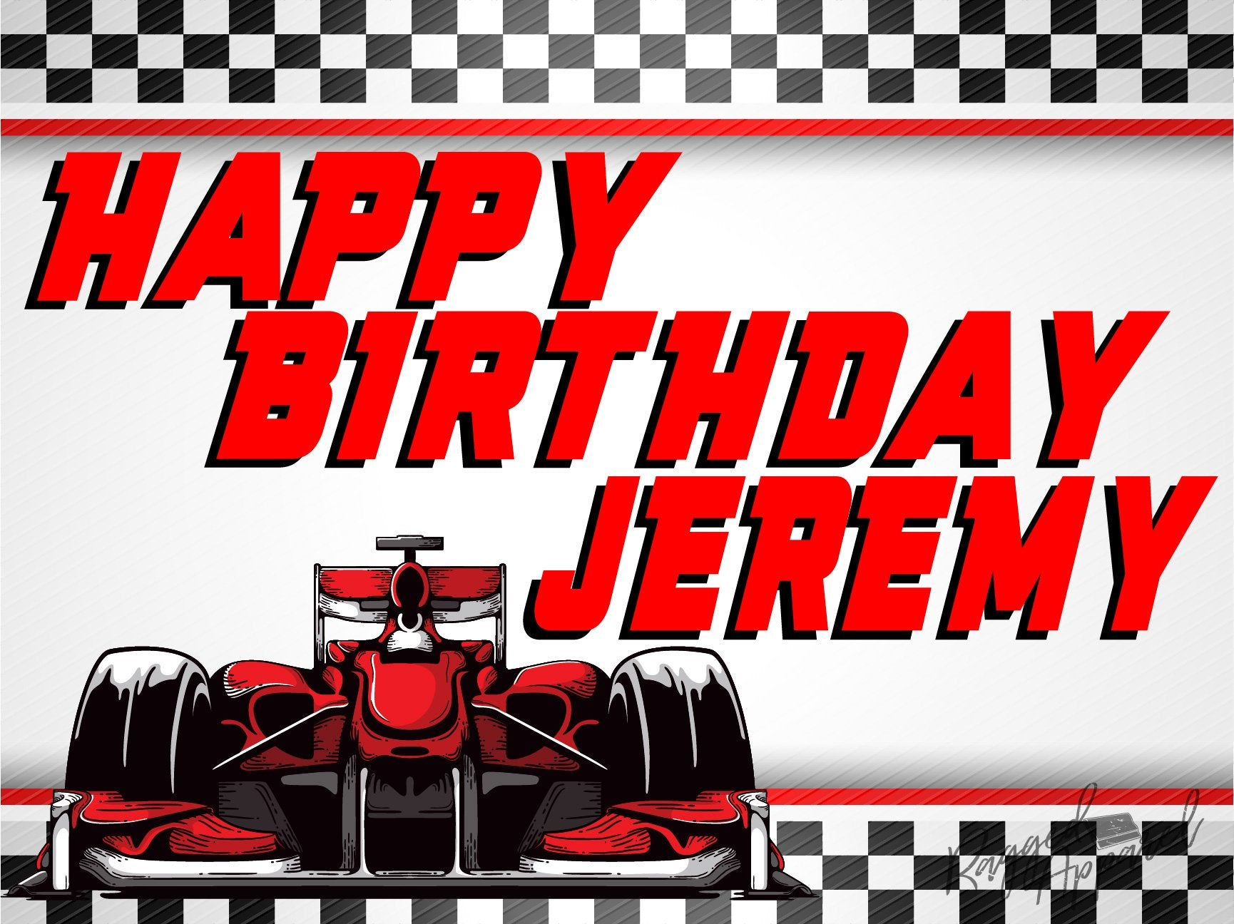 Boys Personalized Racecar Birthday Sign - Ragged Apparel Screen Printing and Signs - www.nmshirts.com