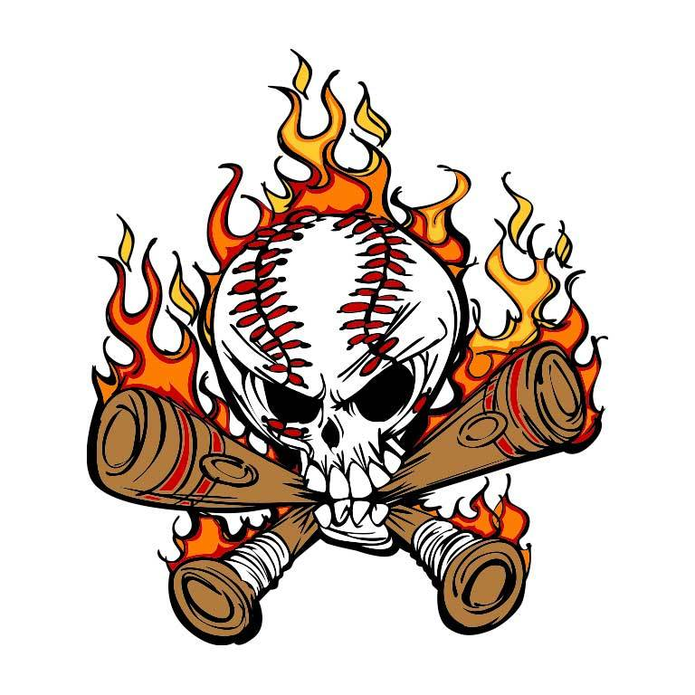 Baseball Skull with Baseball Bats Graphic Decal - Ragged Apparel Screen Printing and Signs - www.nmshirts.com