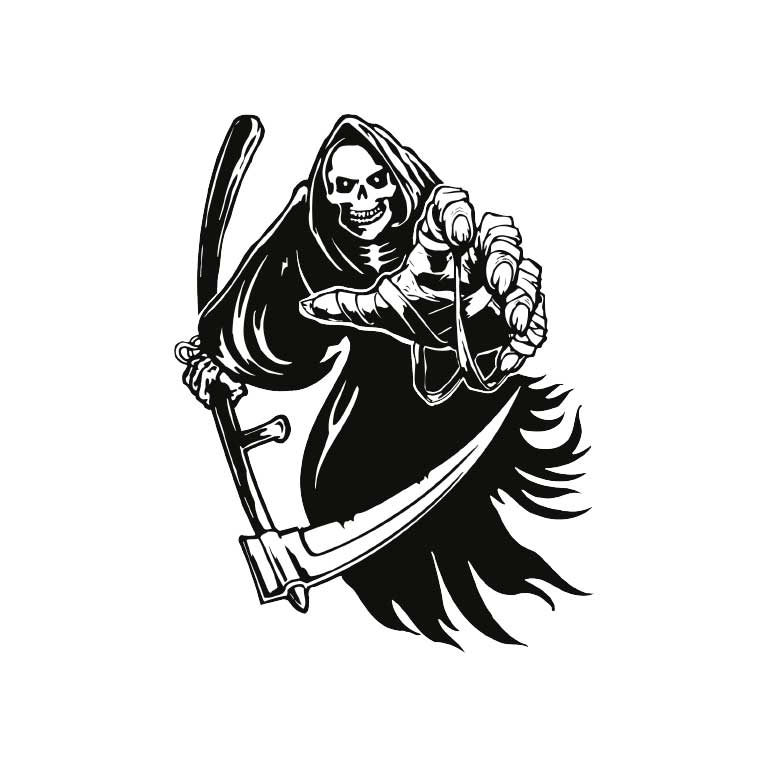Black & White Grim Reaper Graphic Decal - Ragged Apparel Screen Printing and Signs - www.nmshirts.com