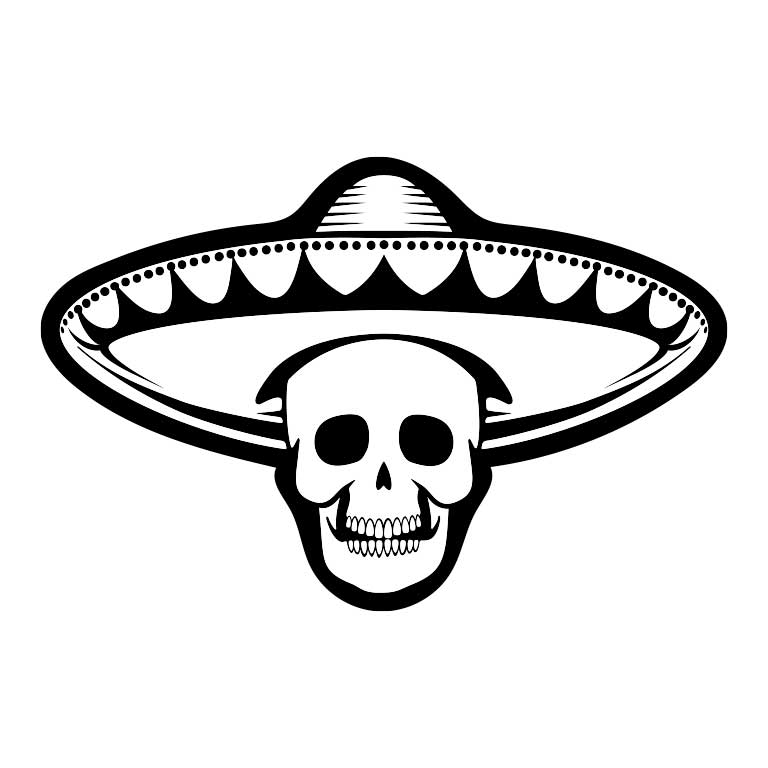 Black & White Skull with Sombrero Graphic Decal - Ragged Apparel Screen Printing and Signs - www.nmshirts.com