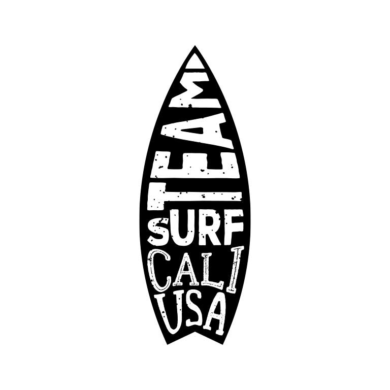 Black & White Cali Surf Board Graphic Decal - Ragged Apparel Screen Printing and Signs - www.nmshirts.com