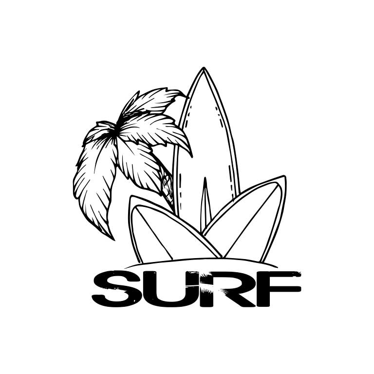 Black & White Surf Board with Palm Trees Graphic Decal - Ragged Apparel Screen Printing and Signs - www.nmshirts.com