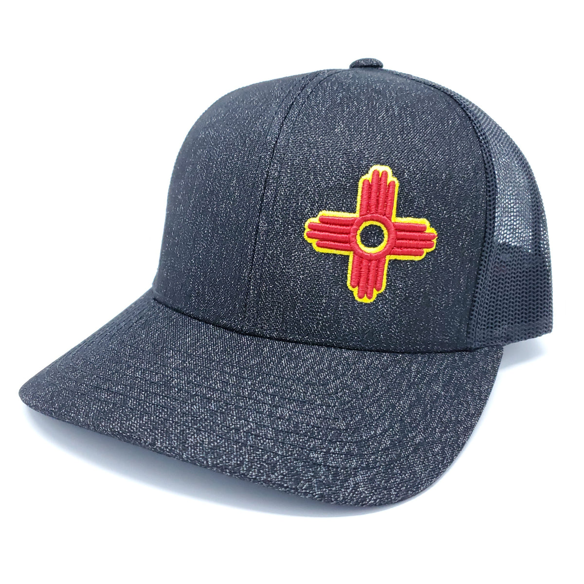 Black Heather Trucker Style Snapback with Embroidered Zia Symbol - Ragged Apparel Screen Printing and Signs - www.nmshirts.com