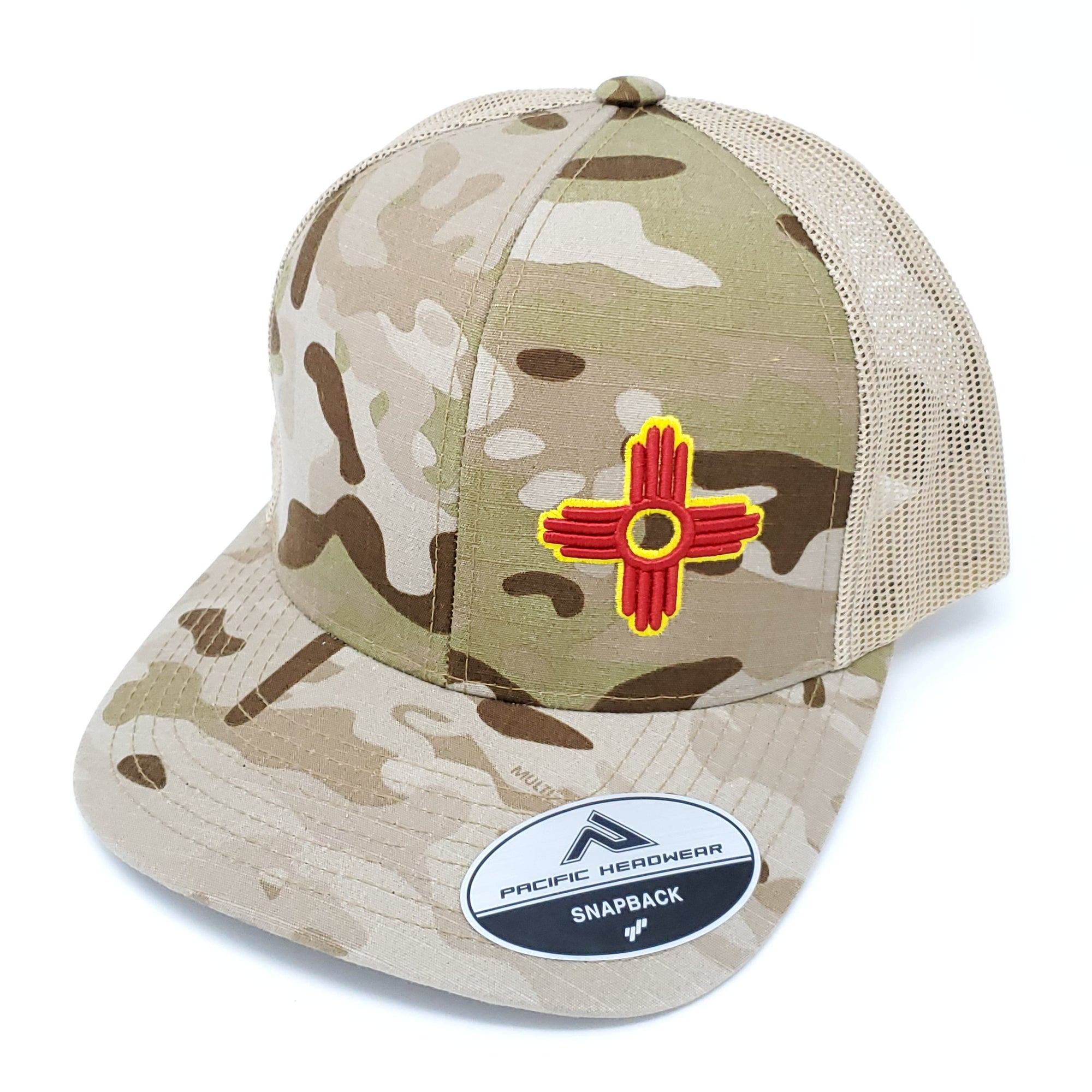 Multi Camo Embroidered Zia Trucker Style Snapback - Ragged Apparel Screen Printing and Signs - www.nmshirts.com
