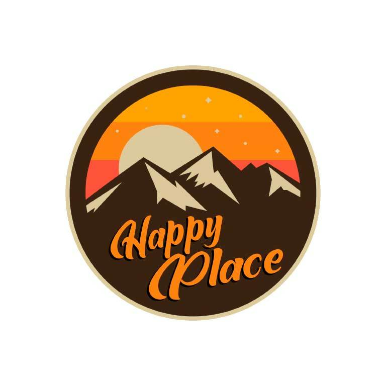 Happy Place Mountains Graphic Decal - Ragged Apparel Screen Printing and Signs - www.nmshirts.com