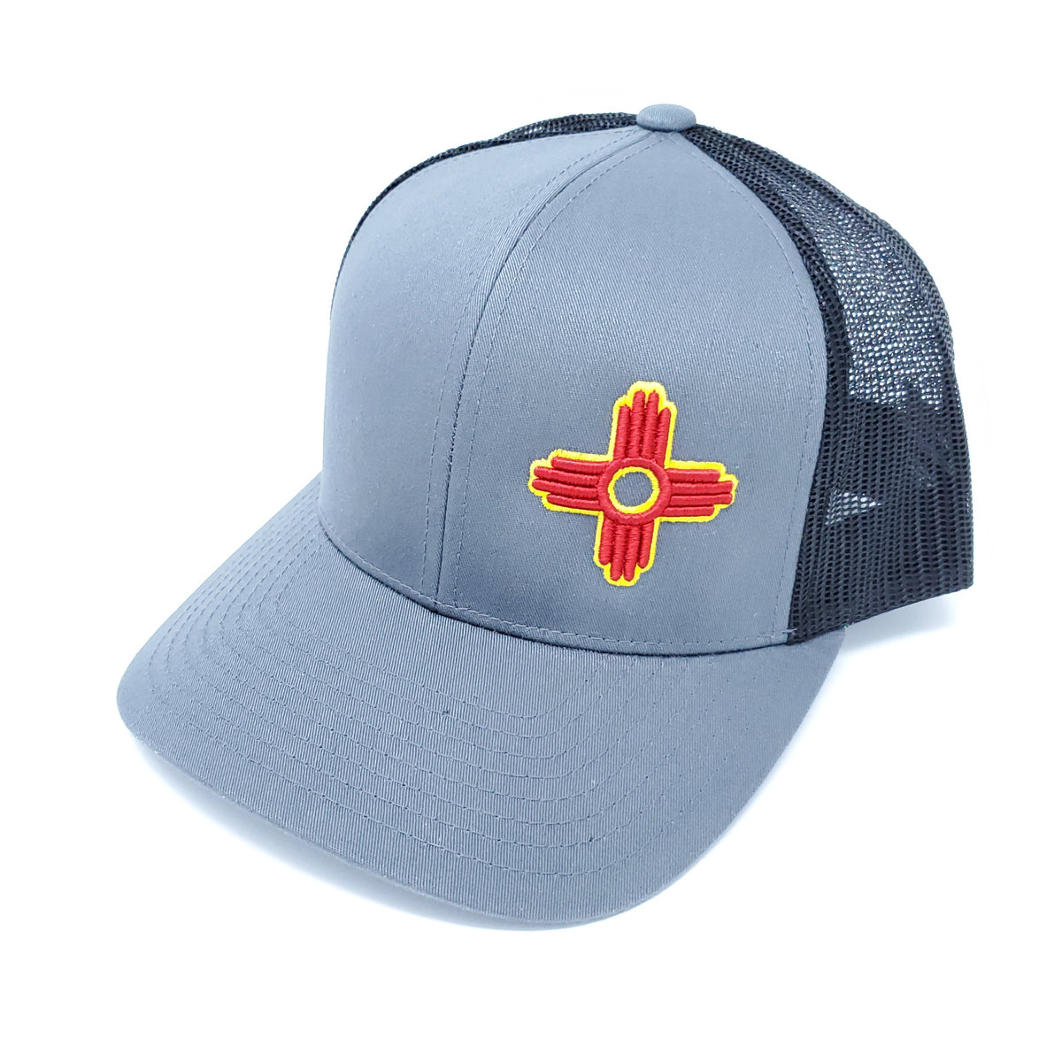 Graphite and Black Embroidered Zia Trucker Style Snapback - Ragged Apparel Screen Printing and Signs - www.nmshirts.com