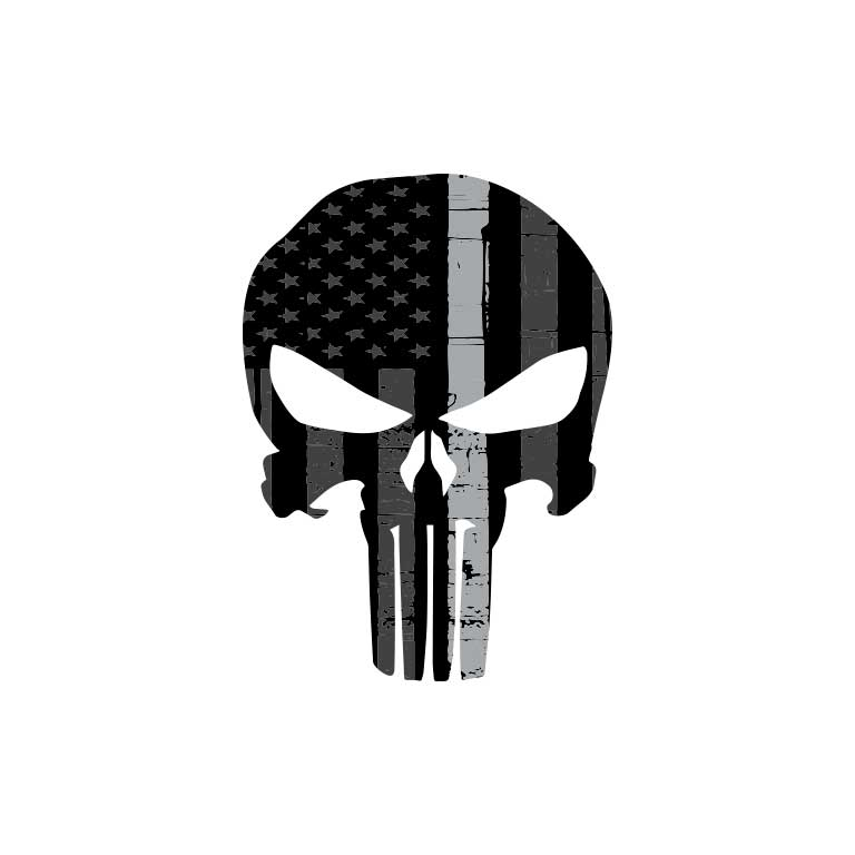 Corrections Thin Grey Line Punisher Graphic Decal - Ragged Apparel Screen Printing and Signs - www.nmshirts.com