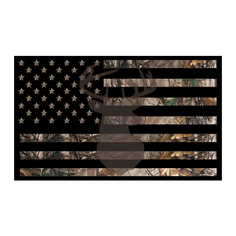 Deer Hunter Camo American Flag Graphic Decal - Ragged Apparel Screen Printing and Signs - www.nmshirts.com