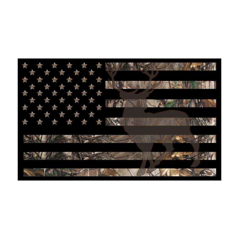 Silhouette Deer Hunter Camo  American Flag Graphic Decal - Ragged Apparel Screen Printing and Signs - www.nmshirts.com