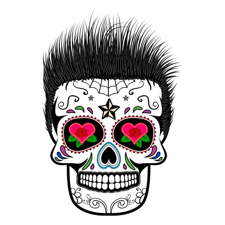 Dia de los Muertos Sugar Skull Punk Rocker Spikey Hair Graphic Decal - Ragged Apparel Screen Printing and Signs - www.nmshirts.com
