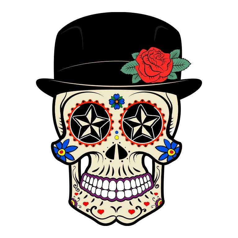 Dia de los Muertos Sugar Skull with Top Hat Graphic Decal - Ragged Apparel Screen Printing and Signs - www.nmshirts.com
