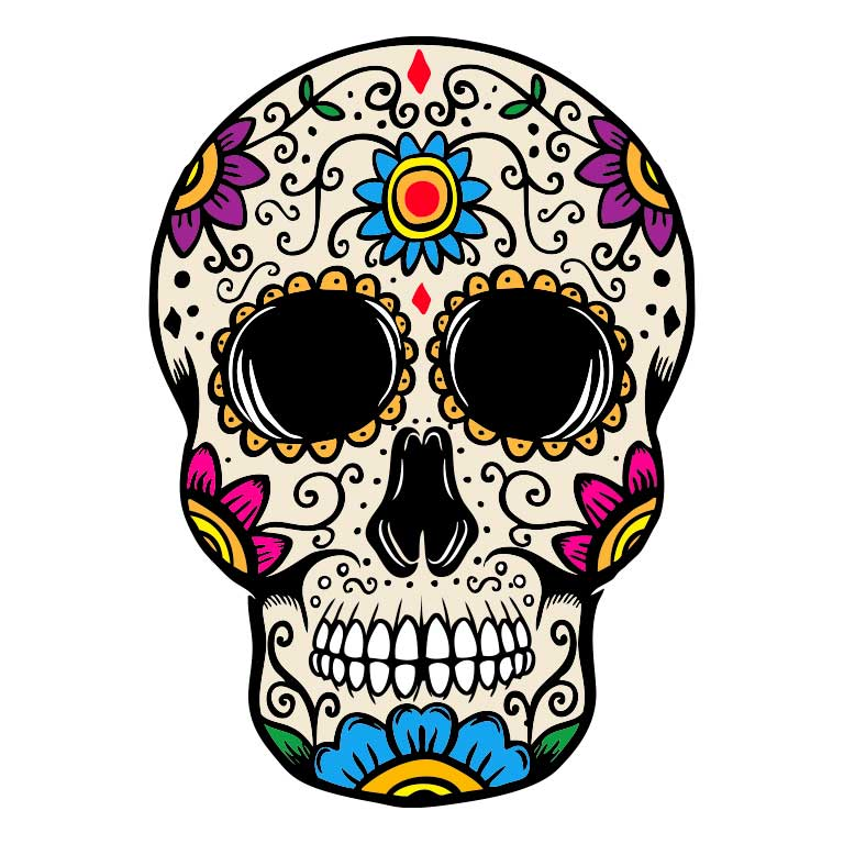 Dia de los Muertos Sugar Skull with Flowers on Head Graphic Decal - Ragged Apparel Screen Printing and Signs - www.nmshirts.com