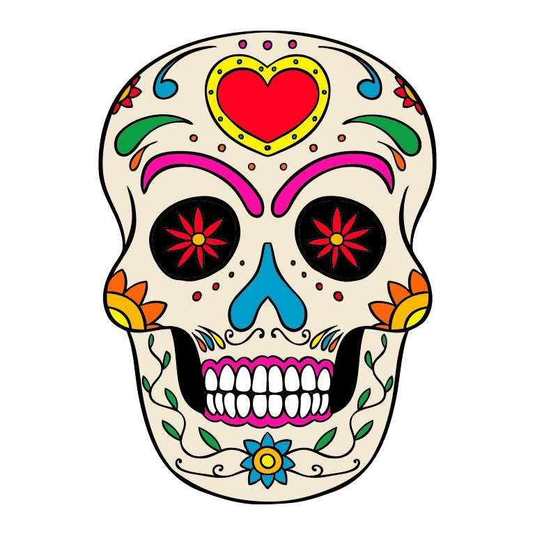Dia de los Muertos Sugar Skull with Heart on Head Graphic Decal - Ragged Apparel Screen Printing and Signs - www.nmshirts.com
