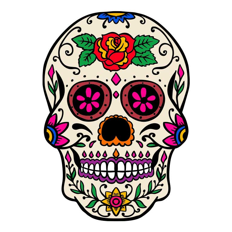 Dia de los Muertos Sugar Skull with Rose on Head Graphic Decal - Ragged Apparel Screen Printing and Signs - www.nmshirts.com