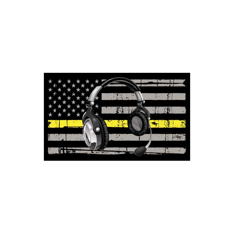 Dispatcher Head Set Thin Yellow Line Flag Graphic Decal - Ragged Apparel Screen Printing and Signs - www.nmshirts.com