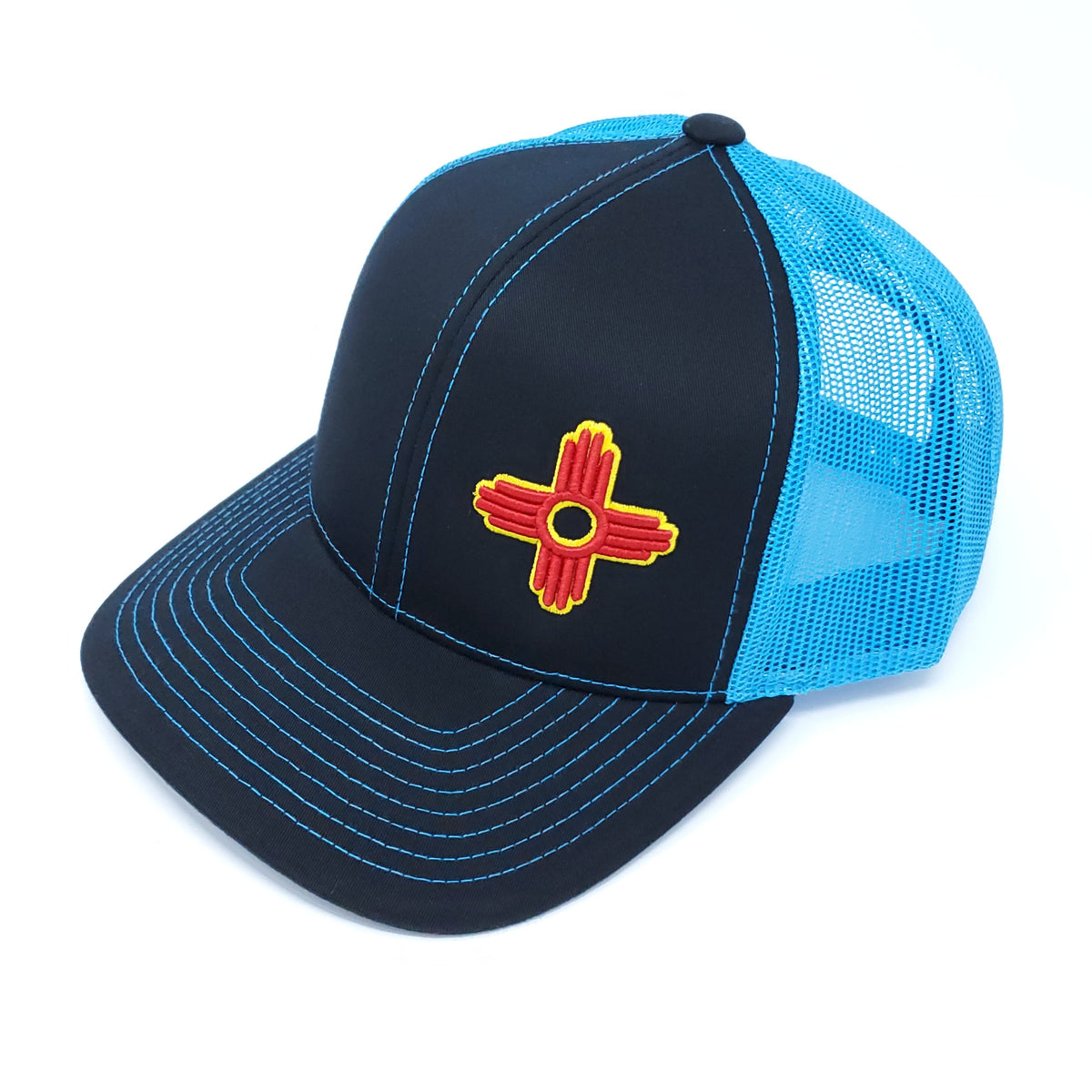 Neon Blue and Black Trucker Style Snapback with Embroidered Zia Symbol - Ragged Apparel Screen Printing and Signs - www.nmshirts.com