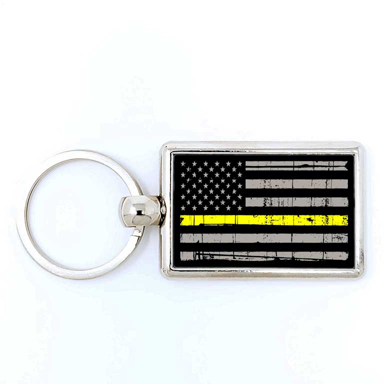 EMS Dispatcher Thin Yellow Line Rectangle Keychain - Ragged Apparel Screen Printing and Signs - www.nmshirts.com