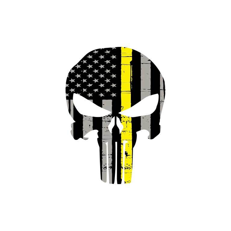EMS Dispatcher Thin Yellow Line Punisher Flag Graphic Decal - Ragged Apparel Screen Printing and Signs - www.nmshirts.com