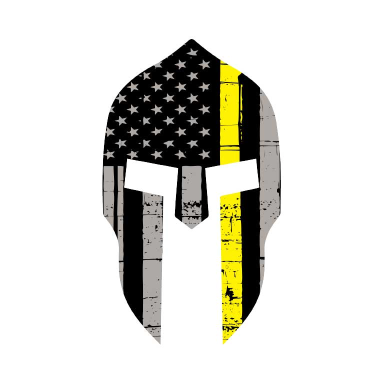 EMS Dispatcher Thin Yellow Line Flag Spartan Graphic Decal - Ragged Apparel Screen Printing and Signs - www.nmshirts.com