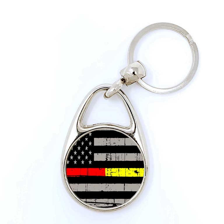Firefighter & Dispatcher/EMS Half Thin Red & Yellow Line Keychain - Ragged Apparel Screen Printing and Signs - www.nmshirts.com