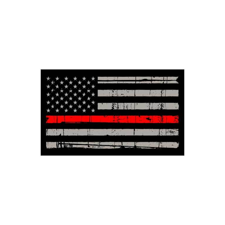 Fire Thin Red Line Flag Graphic Decal - Ragged Apparel Screen Printing and Signs - www.nmshirts.com