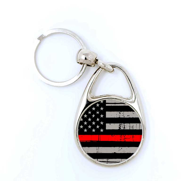 Firefighter Thin Red Line Keychain - Ragged Apparel Screen Printing and Signs - www.nmshirts.com