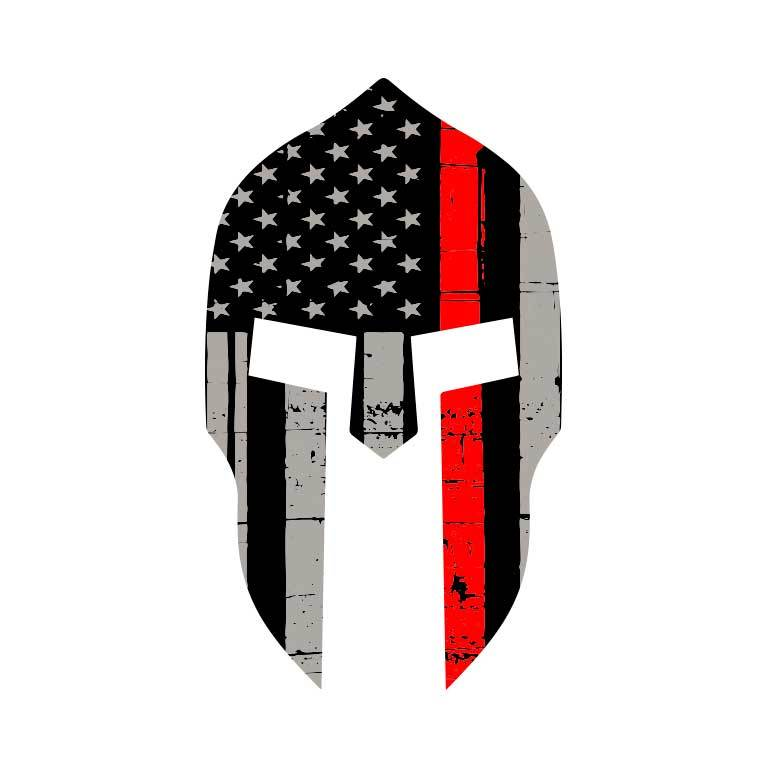 Fire Thin Red Line Spartan  Graphic Decal - Ragged Apparel Screen Printing and Signs - www.nmshirts.com