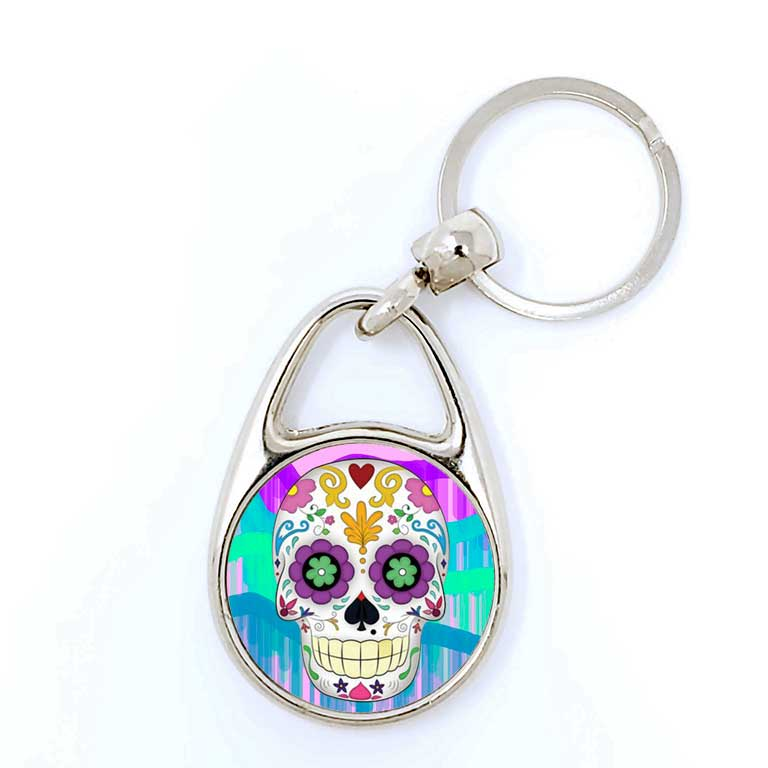 Cute Sugar Skull Day of the Dead Key Chains Dia de Los Muertos Keychain - Ragged Apparel Screen Printing and Signs - www.nmshirts.com