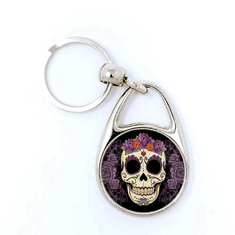 Sugar Skull Day of the Dead Key Chains Dia de Los Muertos Keychain - Ragged Apparel Screen Printing and Signs - www.nmshirts.com