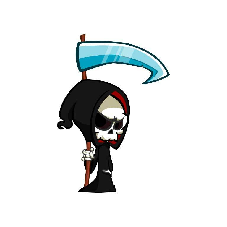 Grim Reaper Holding Sickle Graphic Decal - Ragged Apparel Screen Printing and Signs - www.nmshirts.com