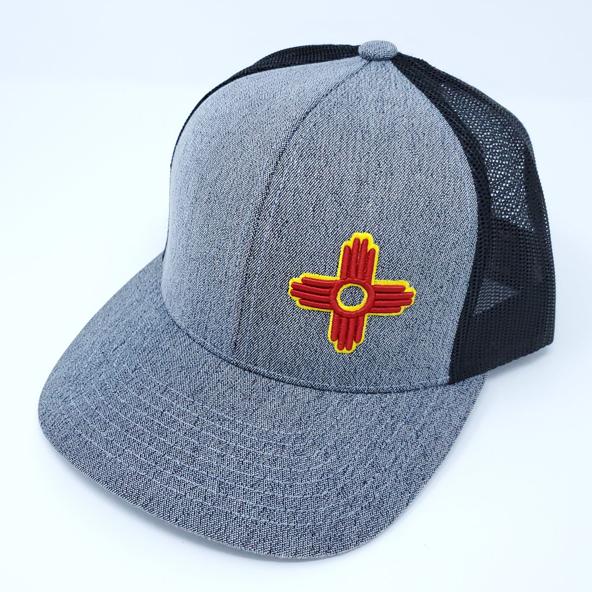 Heather Grey Zia Embroidered Trucker Style Snapback - Ragged Apparel Screen Printing and Signs - www.nmshirts.com