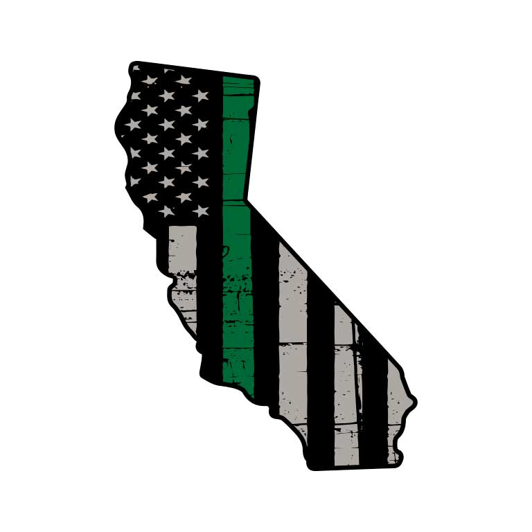 Military Thin Green Line Flag of California State Graphic Decal - Ragged Apparel Screen Printing and Signs - www.nmshirts.com