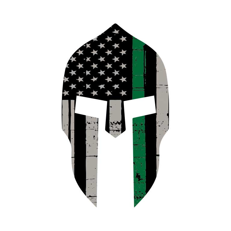 Military Thin Green Line Spartan  Graphic Decal - Ragged Apparel Screen Printing and Signs - www.nmshirts.com