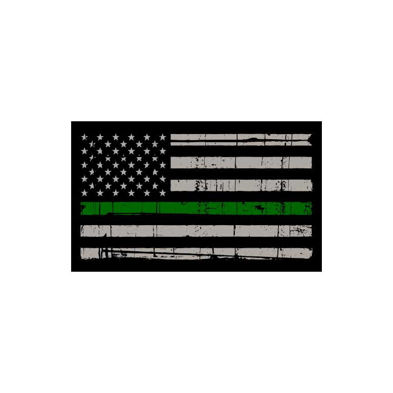 Military Thin Green Line Flag Graphic Decal - Ragged Apparel Screen Printing and Signs - www.nmshirts.com