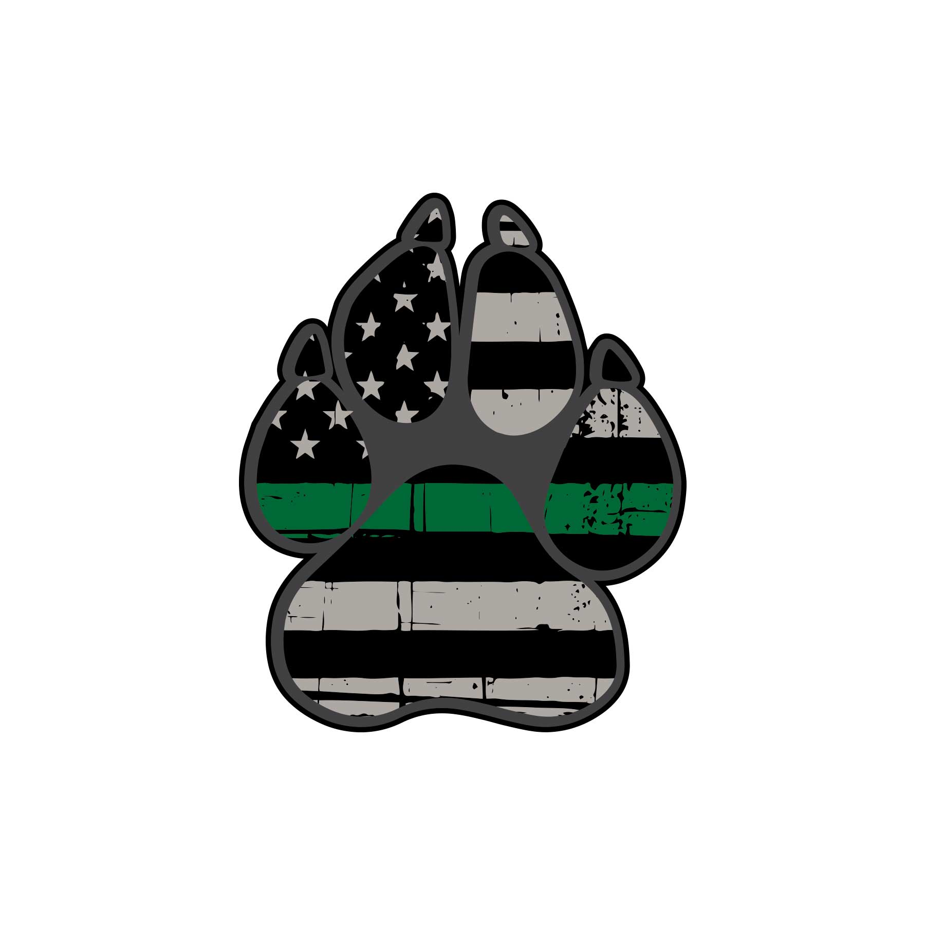 Military Thin Green Line Flag of K-9 Paw Graphic Decal - Ragged Apparel Screen Printing and Signs - www.nmshirts.com