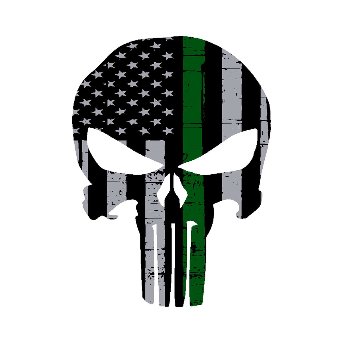 Military Thin Green Line Punisher Graphic Decal