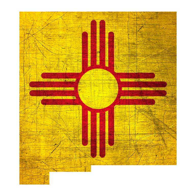 Distressed Yellow New Mexico State Shape with Red Zia Graphic Decal - Ragged Apparel Screen Printing and Signs - www.nmshirts.com