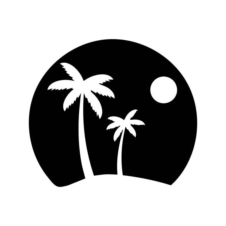 Palm Trees in Horizon Vinyl Sticker Graphic Decal - Ragged Apparel Screen Printing and Signs - www.nmshirts.com