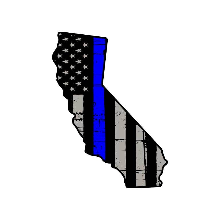 Police Thin Blue Line Flag of California State Graphic Decal - Ragged Apparel Screen Printing and Signs - www.nmshirts.com