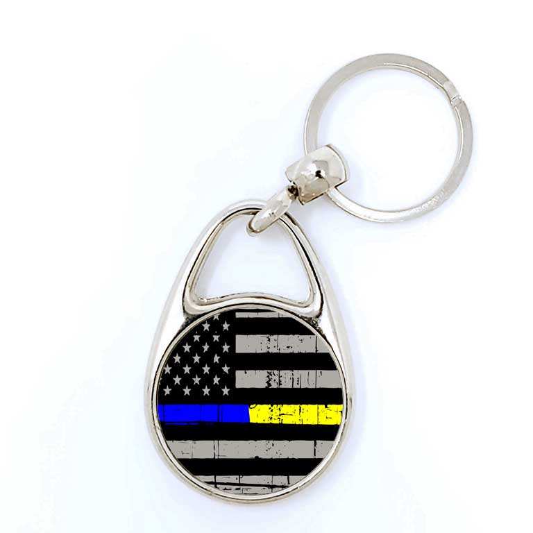 Police & Dispatcher/EMS Half Thin Blue & Yellow Line Keychain - Ragged Apparel Screen Printing and Signs - www.nmshirts.com
