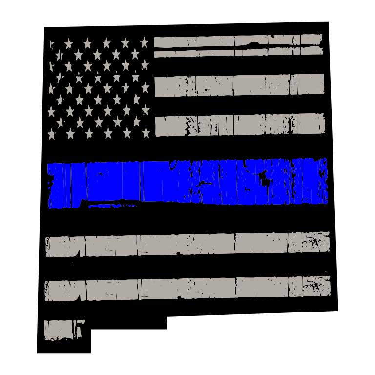 Police Thin Blue Line Flag of New Mexico State Graphic Decal - Ragged Apparel Screen Printing and Signs - www.nmshirts.com