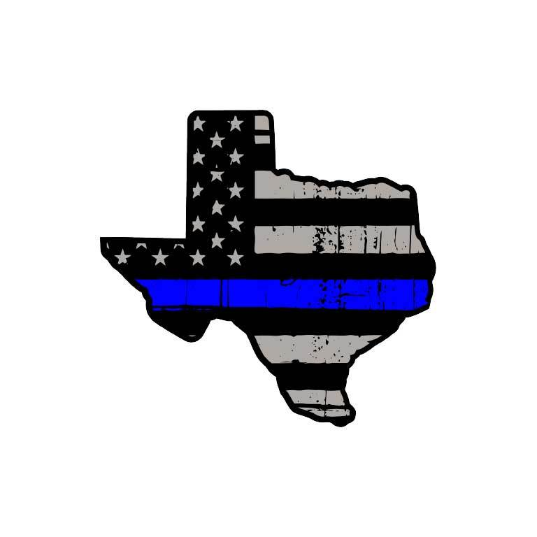 Police Thin Blue Line Flag of Texas State Graphic Decal - Ragged Apparel Screen Printing and Signs - www.nmshirts.com
