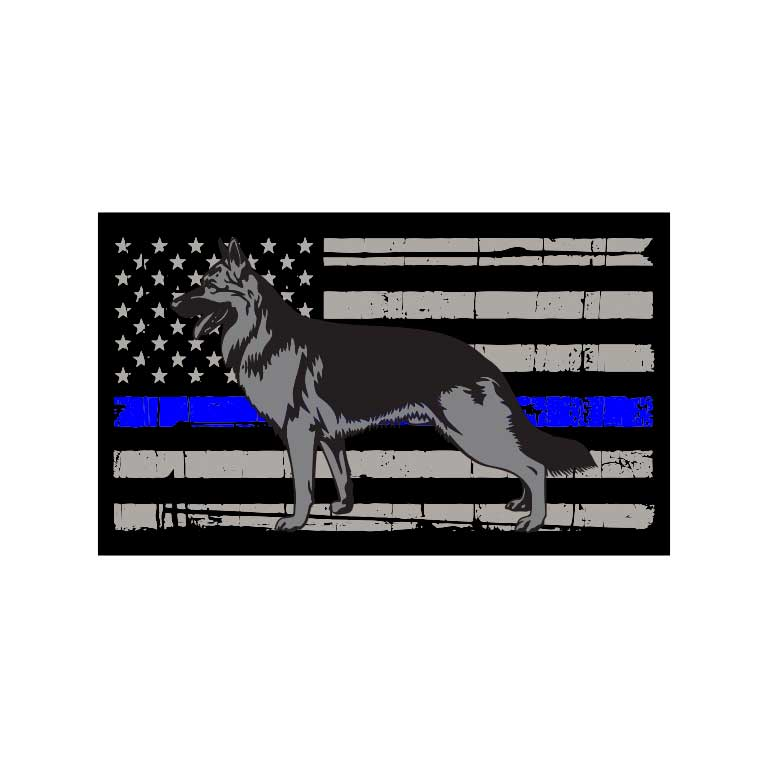 Police Thin Blue Line Flag of K-9 Dog Graphic Decal - Ragged Apparel Screen Printing and Signs - www.nmshirts.com