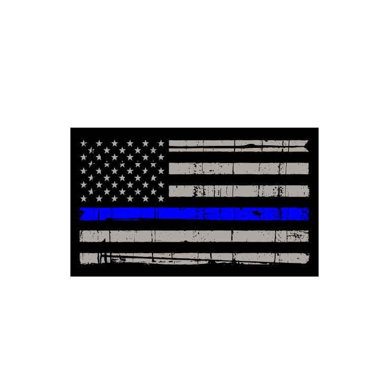 Police Thin Blue Line Flag Graphic Decal - Ragged Apparel Screen Printing and Signs - www.nmshirts.com