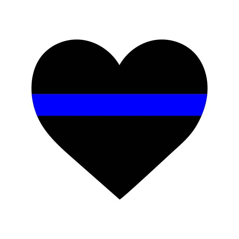 Police Thin Blue Line Heart Graphic Decal - Ragged Apparel Screen Printing and Signs - www.nmshirts.com