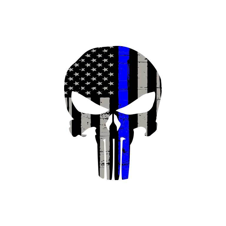 Police Thin Blue Line Punisher Flag Graphic Decal - Ragged Apparel Screen Printing and Signs - www.nmshirts.com