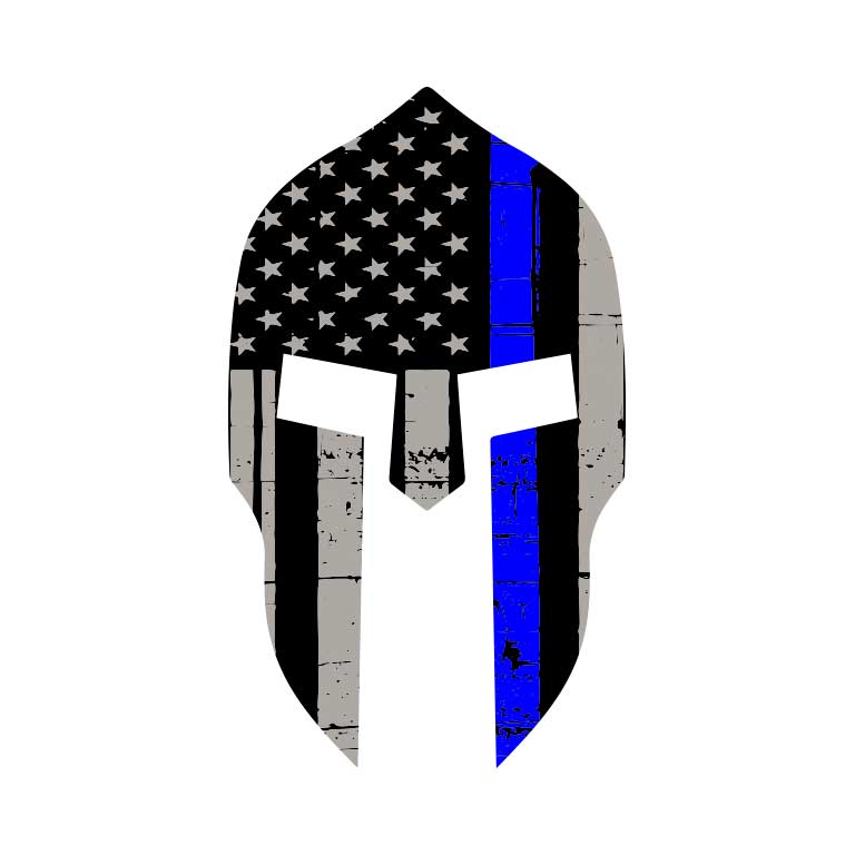 Police Thin Blue Line Spartan  Graphic Decal - Ragged Apparel Screen Printing and Signs - www.nmshirts.com