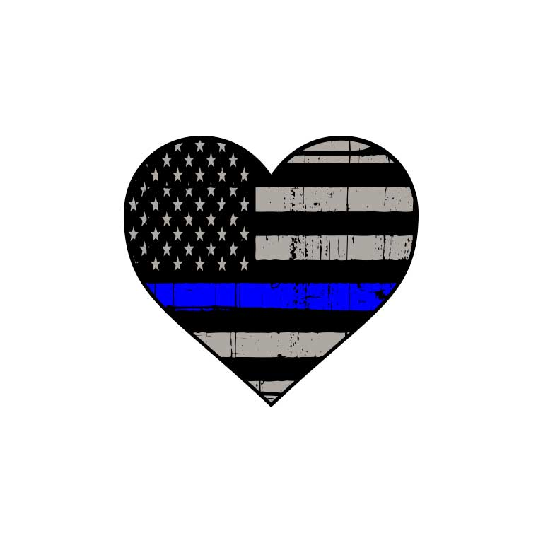 Police Thin Blue Line Heart Flag Graphic Decal - Ragged Apparel Screen Printing and Signs - www.nmshirts.com